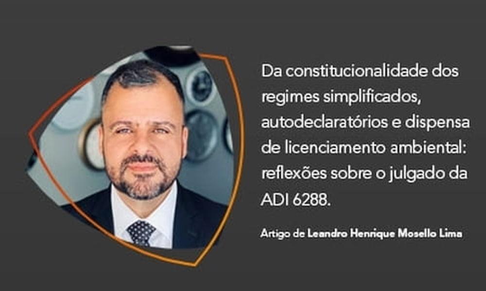Da constitucionalidade dos regimes simplificados, autodeclaratórios e dispensa de licenciamento ambiental: reflexões sobre o julgado da ADI 6288.